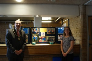 Deputy Mayor Councillor John Lloyd and volunteer from Homerswood School, Letchworth.