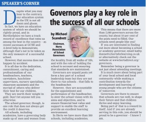 Comet article 3rd September 2015 - key role of school governors